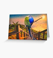 love birds and majestic landscape Greeting Card