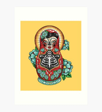 Day of The Dead Russian Doll Art Print