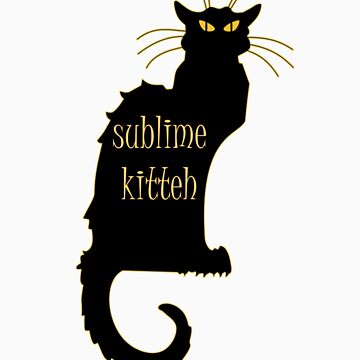 sublime black french kitty cat black Art Nouveau by tiaknight