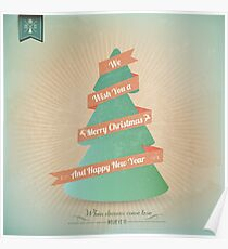 Vintage Grunge Christmas Tree With Red Ribbon Poster