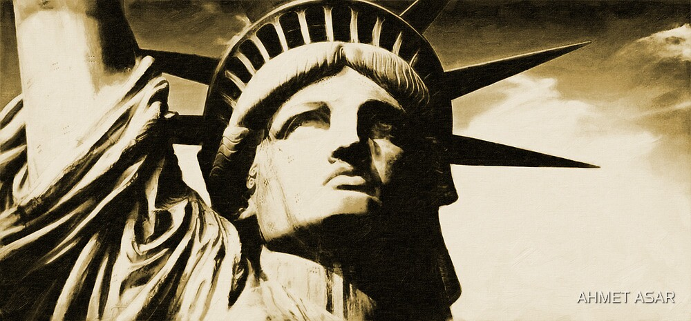 Statue of liberty face close up tonal by MotionAge Media