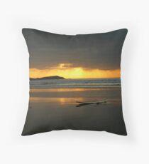 Board on the Beach Throw Pillow