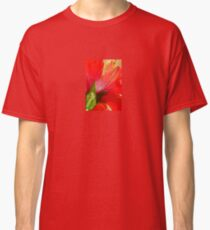 Back View of A Beautiful Bright Red Hibiscus Flower Classic T-Shirt