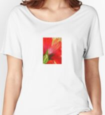 Back View of A Beautiful Bright Red Hibiscus Flower Women's Relaxed Fit T-Shirt
