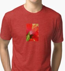 Back View of A Beautiful Bright Red Hibiscus Flower Tri-blend T-Shirt