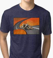 Camiseta de tejido mixto cartel retro TT de la motocicleta de la Isla de Man