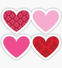 DAMASK HEARTS QUAD PATTERN red & pink Sticker