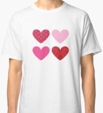 DAMASK HEARTS QUAD PATTERN red & pink Classic T-Shirt