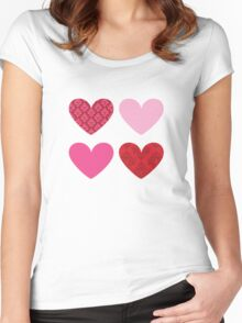 DAMASK HEARTS QUAD PATTERN red & pink Women's Fitted Scoop T-Shirt