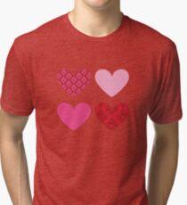 DAMASK HEARTS QUAD PATTERN red & pink Tri-blend T-Shirt