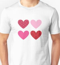 DAMASK HEARTS QUAD PATTERN red & pink Unisex T-Shirt