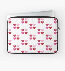 DAMASK HEARTS QUAD PATTERN red & pink Laptop Sleeve