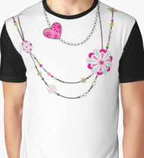 NECKLACE :: funky flowers chain bright colourful Graphic T-Shirt