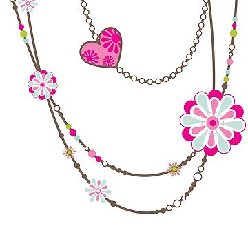 NECKLACE :: funky flowers chain bright colourful by edgeplus