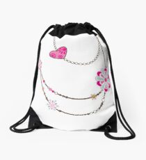 NECKLACE :: funky flowers chain bright colourful Drawstring Bag