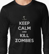 Keep Calm And Kill Zombies (Shirt & Stickers - Black) Long Sleeve T-Shirt