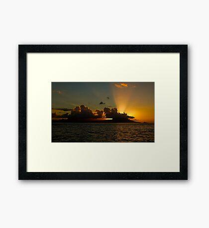 Sunset over Moorea Framed Print