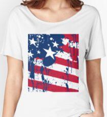 Drops Splash Colors America Flag  Women's Relaxed Fit T-Shirt