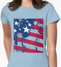 Drops Splash Colors America Flag  Womens Fitted T-Shirt