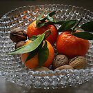 Antique Glass Bowl - Tangerines and Nuts by Gilberte