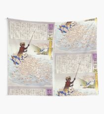 Humorous picture showing a monster on a boat or raft collecting Chinese Buddhist worshippers in a river 001 Wall Tapestry