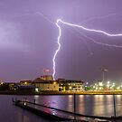 Lightning over Lake Ginninderra, Canberra by Troy Barrett
