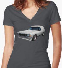 Illustrated HZ Holden Panel Van - White Women's Fitted V-Neck T-Shirt