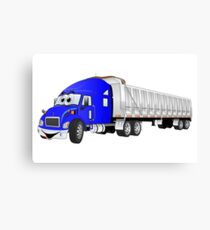 Semi Dump Truck Blue Trailer Cartoon Canvas Print