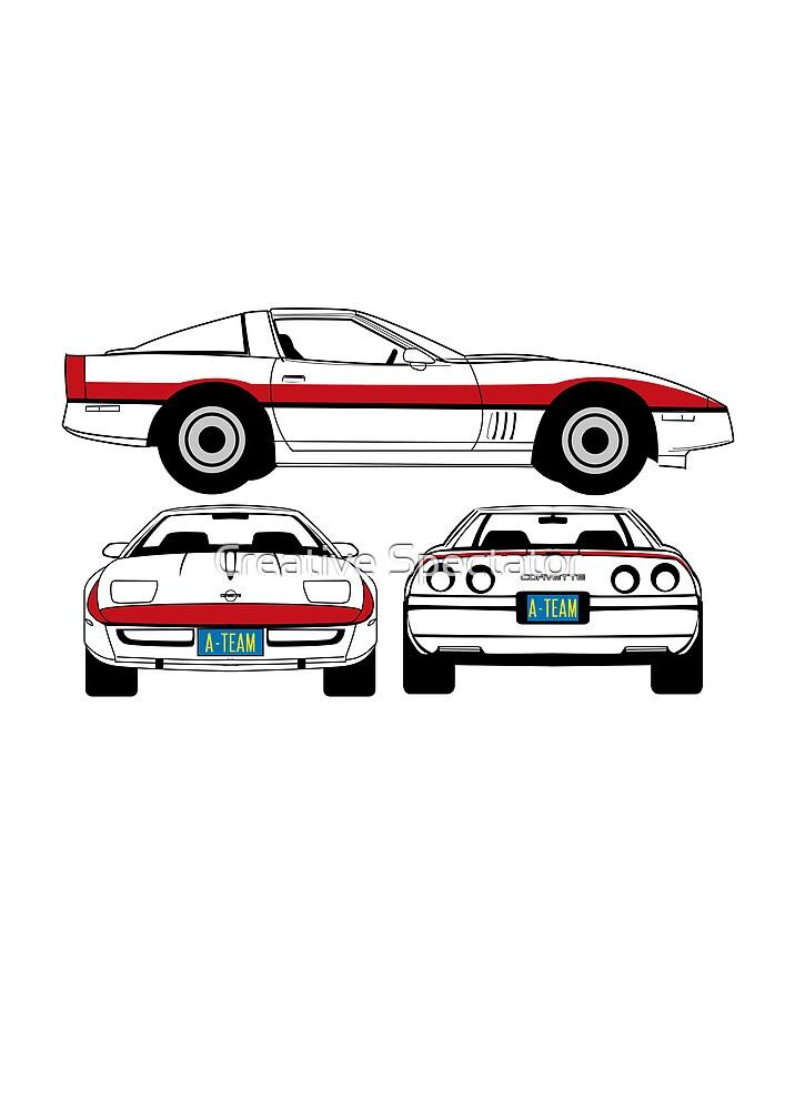 Face 1984 A-Team Chevrolet Corvette schematic by Creative Spectator