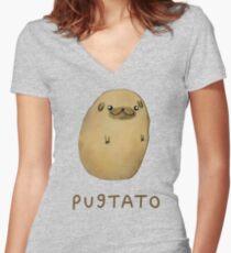 Pugtato Tailliertes T-Shirt mit V-Ausschnitt