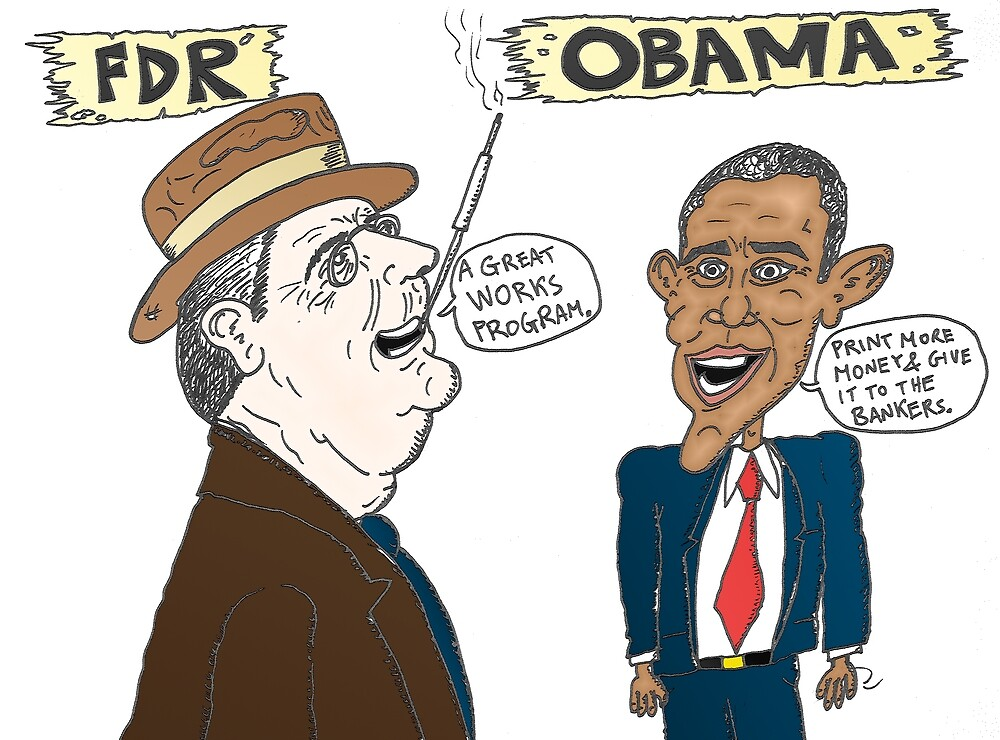 Economic politics of Roosevelt and Obama caricature by Binary-Options