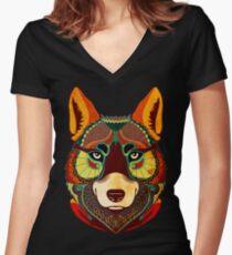 Camiseta entallada de cuello en V The Wolf