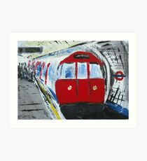 London Underground Red Tube Train Contemporary Acrylic Painting On Canvas Board Art Print