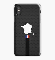 France Flag and Map - Black Stripe on Dark gray  iPhone Case/Skin
