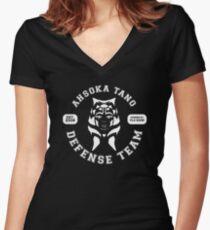 Ahsoka Tano Defense Team (white text) Women's Fitted V-Neck T-Shirt