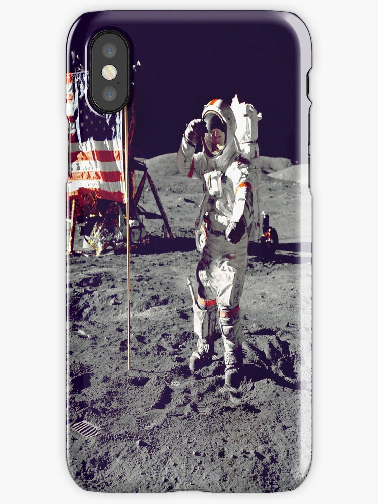 Cernan Jump Salutes Flag iPhone Case by iphonejohn