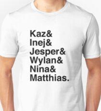 Camiseta ajustada Kaz & Inej & Jesper & Wylan & Nina & Matthias. (Seis de Cuervos)
