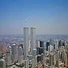 Aerial view of New York City, with Twin Towers of the World Trade Center visible iPad Case by ipadjohn