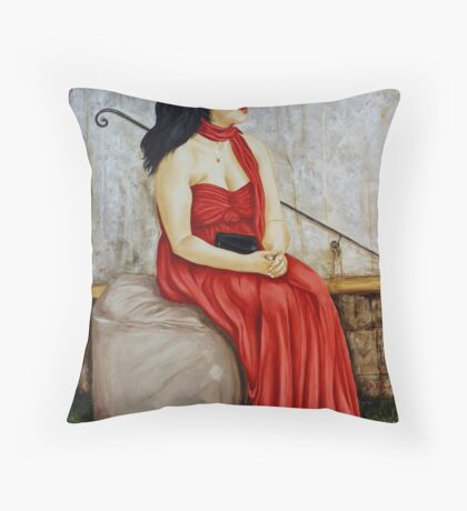 woman in red Throw Pillow