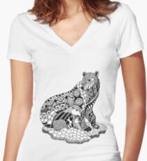 Polar Bear with Cub Drawing Women's Fitted V-Neck T-Shirt