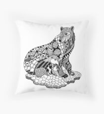 Polar Bear with Cub Drawing Throw Pillow