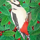 The Great Spotted Woodpecker by Véronique Cole by aquartistic