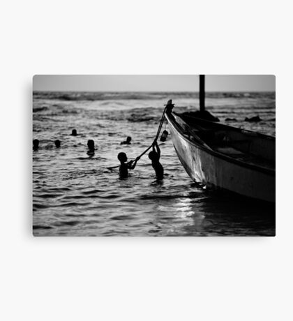 silhouettes in water Canvas Print