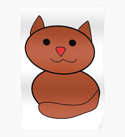 Brown Kawaii Cat Poster