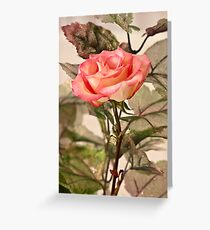 Real Rose And Not So Real Leaves Greeting Card