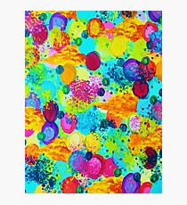 TIME FOR BUBBLY - Colorful Bright Bold Abstract Acrylic Painting, Turquoise Royal Blue Magenta Photographic Print