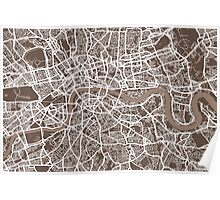 London Map Coffee Brown Poster