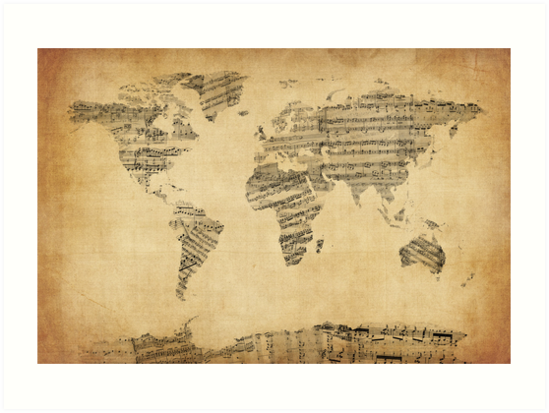 Map of the world map from old sheet music art prints by michael map of the world map from old sheet music by michael tompsett gumiabroncs Choice Image