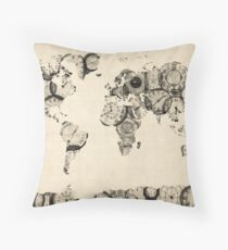 Map of the World Map from Old Clocks Throw Pillow