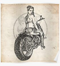 Motorcycle Girl Pinup Girl Sketch Poster